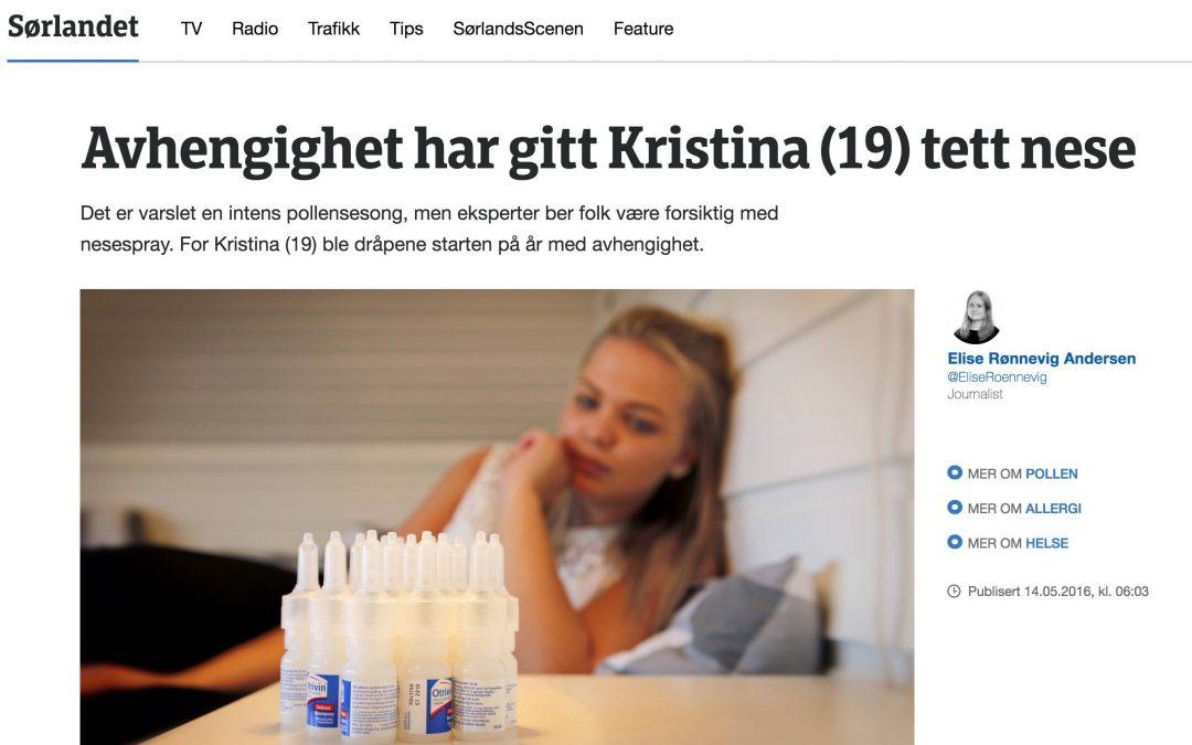 NRK: Avhengighet har gitt Kristina (19) tett nese
